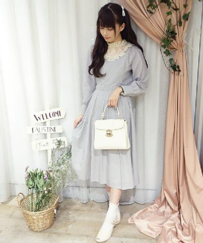 (Outlet) レースヨークストライプロングワンピース/an another angelus [29BE03j001]